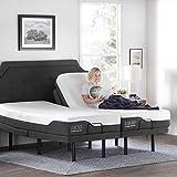 LUCID L300 Adjustable Bed Basewith LUCID 12 Inch Memory Foam Hybrid Mattress-Split King