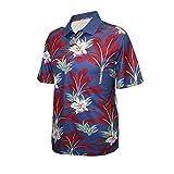 Monterey Club Men's Tropical Paradise Print Polo Shirt #1532 (Midnight Blue/Dark Claret, Large)