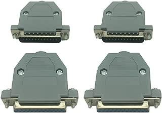 DB25 25 Pin Solder Type Connectors(2 PCS Male, 2 PCS Female) and 4 Set Gray Plastic Hoods Complete Set of Crimp Connector Assortment Kit