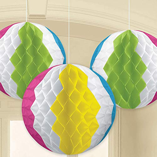 Amscan International Kit de décoration 290060 avec Ballons hawaïens nid d'abeille de 17 cm.