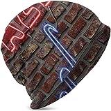rouxf Unisex niños Beanie Caps Música Neon Jazz Saxofón en la Pared de ladrillo Comfortbale Soft Slouchy Collection Knit Hats Skull Cap Wi
