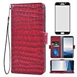 Asuwish Compatible with Samsung Galaxy S6 Edge Plus Wallet Case with Tempered Glass Screen Protector and Flip Cover Card Holder Cell Phone Cases for Glaxay S6edge + S 6edge 6s 6 Edge+ Women Men Red