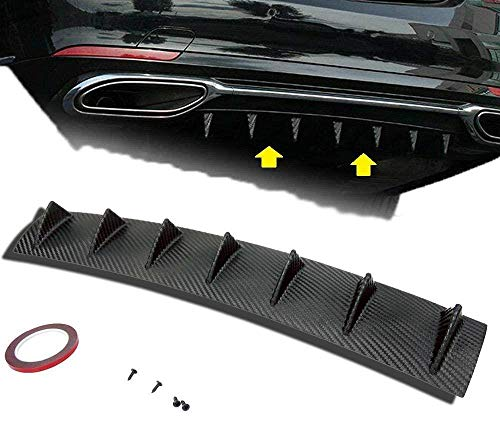 S SIZVER 1 x Carbon Fiber Paint Style Plastic Rear Lower Bumper Diffuser Fin Spoiler Lip Wing Splitter 34'x6'