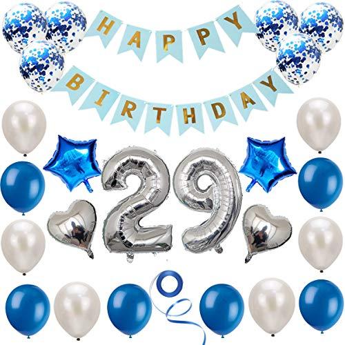 Juego de decoración de 29 cumpleaños azul plateado, decoración de cumpleaños, decoración de fiesta de cumpleaños, pancarta de feliz cumpleaños, decoración de globos de números plateados de 29 años