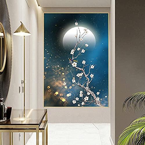 Pintura colorida 70x90 cm sin marco flor de ciruelo pájaro luna flor animal pintura cartel e impresión pintura de pared decoración del hogar