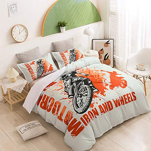 YUJIA Duvet Cover Sets 3D Mountain bike Printing Bedding Set With Zipper Closure Polyester Gift Duvet Cover 3 Pieces Set With 2 Pillowcases Orange-EU Double 200x200cm