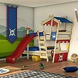 WICKEY Lit superposé CrAzY Castle Lit double entfants 90x200 Lit mezzanine avec toboggan, échelle à grimper, toit et...