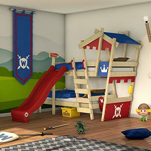Wickey CrAzY Castle stapelbed, dubbel kinderbed, 90 x 200, hoogslaper met glijbaan, trap, dak en lattenbodem, rood-blauw + rode glijbaan