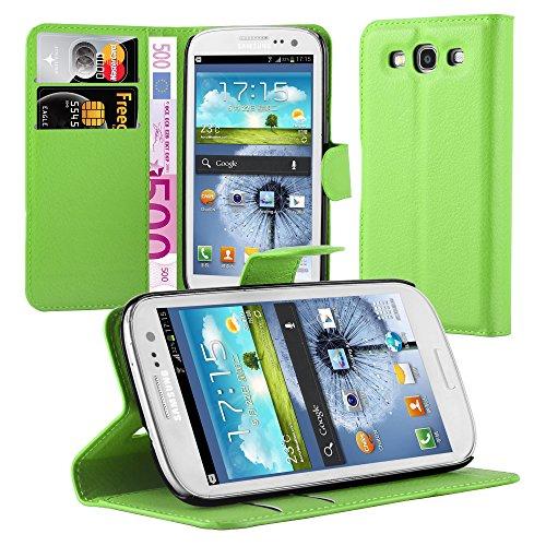 Cadorabo Hülle für Samsung Galaxy S3 / S3 NEO - Hülle in MINZ GRÜN – Handyhülle mit Kartenfach und Standfunktion - Case Cover Schutzhülle Etui Tasche Book Klapp Style