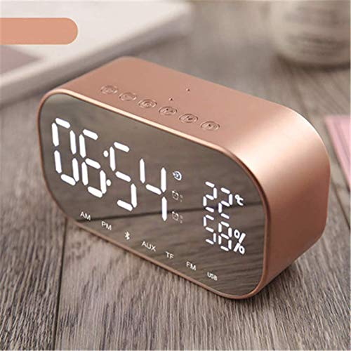 FENGCLOCK Dígito LED Espejo Inalámbrico FM Relio Reloj, Bluetooth Dual Speaker Metal Music Player Reloj De Alarma Espejo De La Cama Superficie Multifunción Alarma Reloj De Alarma,Latón