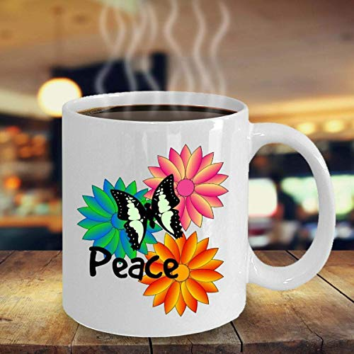 N\A Taza de café inspiradora de la Flor del Amante de Las Mariposas del jardín Taza de té de cerámica única