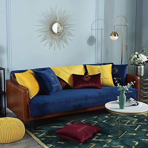 YUTJK Funda de sofá de Esquina,Fundas de Asiento de sofá de Tela para Sala de Estar,Funda Protectora de Muebles,para sofá de 1/2/3/4 plazas,Funda de sofá de Felpa para sofá de Cuero-Azul Oscuro_30×5