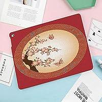 新しい ipad 9.7 キーボードカバー 2018/2017 ipad pro 9.7/ipad air/air41/ipad 第六世代/ipad 第五世代 手帳型 ビジネスカバー 多角度調整 サークルフレームに蝶と東洋の桜