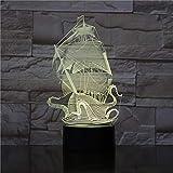 Lámpara De Ilusión 3D Luz De Noche Led Velero Piratas Del Caribe Dropship Mejor Regalo Para Adolescente Para Decoración De Dormitorio Visual