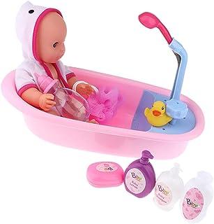 yotijay Baby Doll Bathtub Set, Featuring 12inch Vinyl Doll, Bath Tub, Soap Box, Duck,