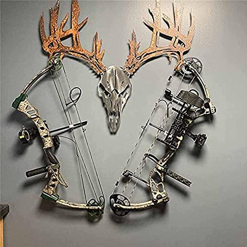 Metal Deer Skull Bow or Shotgun Rack ,15.75 x 15 Inch Rusty Metal Wall Art Bow Rack Decor, Composite Style Hunting Archery Gear Standing Display, Indoor Storage Rack Bone Bracket Bow