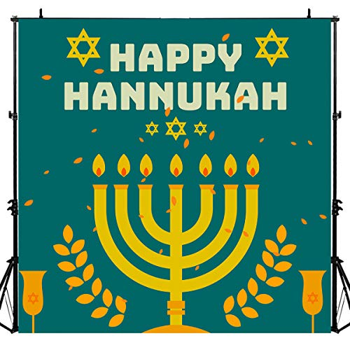 Happy Hanukkah Banner Chanukah Decorations Backdrops for Photography, Israel Hebrew Menorah Blue Shiny Lamps Party Chanukah Festive Green Decor Background, Photo Booth Picture Props DSLU548