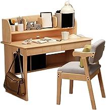 Solid Wood Desk, Simple and Modern Table Children Student Writing Desk, Desktop Computer Desk with Bookshelf Home