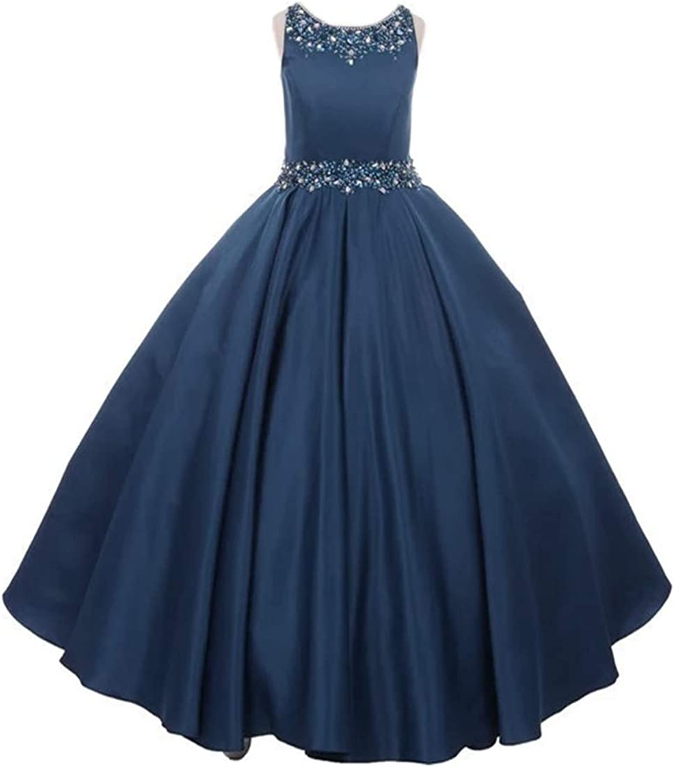 Junguan Girls' Scoop Neck Pageant Dresses Long Aline Princess Formal Evening Ball Gowns with Pockets TF011