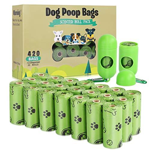 TVOOD Hundekotbeutel – 21 Rollen (420 Beutel), biologisch abbaubare Kotbeutel für Hunde, auslaufsicher, umweltfreundliche Hundekotbeutel, Nachfüllrollen mit 2 Spender (parfümiert)