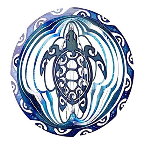 Adaskala 3D Meeresschildkröte drehbare Windglocke Ozeanblau Glocke Metall Anhänger häusliche Dekoration Handwerk