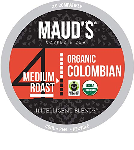 Maud's Organic Colombian Coffee (Organic Medium Roast Coffee), 24ct. Recyclable Single Serve Fair Trade Single Origin Organic Colombian Coffee Pods - 100% Arabica Coffee, Organic K Cups Compatible