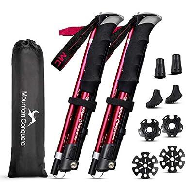 MC Collapsible Trekking Poles-Folding Hiking Poles-2pc Pack Aluminum 7075-Adjustable Walking Poles Sticks (Wine red) …