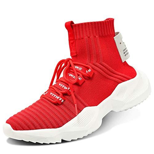 Tênis de corrida feminino para caminhada, meias de corrida, plataforma, moderno, de malha, Air Cushion Athletic Gym, casual, mocassins, sapato de dança hip-hop, A-red, 7