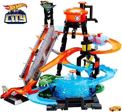 Hot Wheels FTB67 - City Ultimative Autowaschanlage mit Krokodil, Waschstation Spielset mit Farbwechseleffekt inkl. 1 Spielzeugauto und Alligator, Kinder Spielzeug ab 4 Jahren