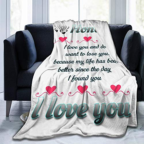 """Honey I Love You Couple Blanket Throw, Flannel Fleece Cozy Microfiber for Couch Home Bed Sofa Travel Lap Chairs Dorm Suitable for All Season 50""""x40"""" Blanket for Kids"""