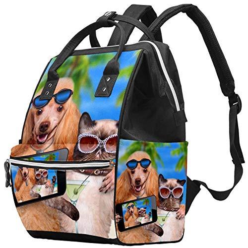 Fun Cat Kitty Dog Holidays Nappy Changing Bag Diaper Sac à dos avec poches isolées, sangles de poussette, grande capacité multifonctionnel élégant sac à couches pour maman papa en plein air