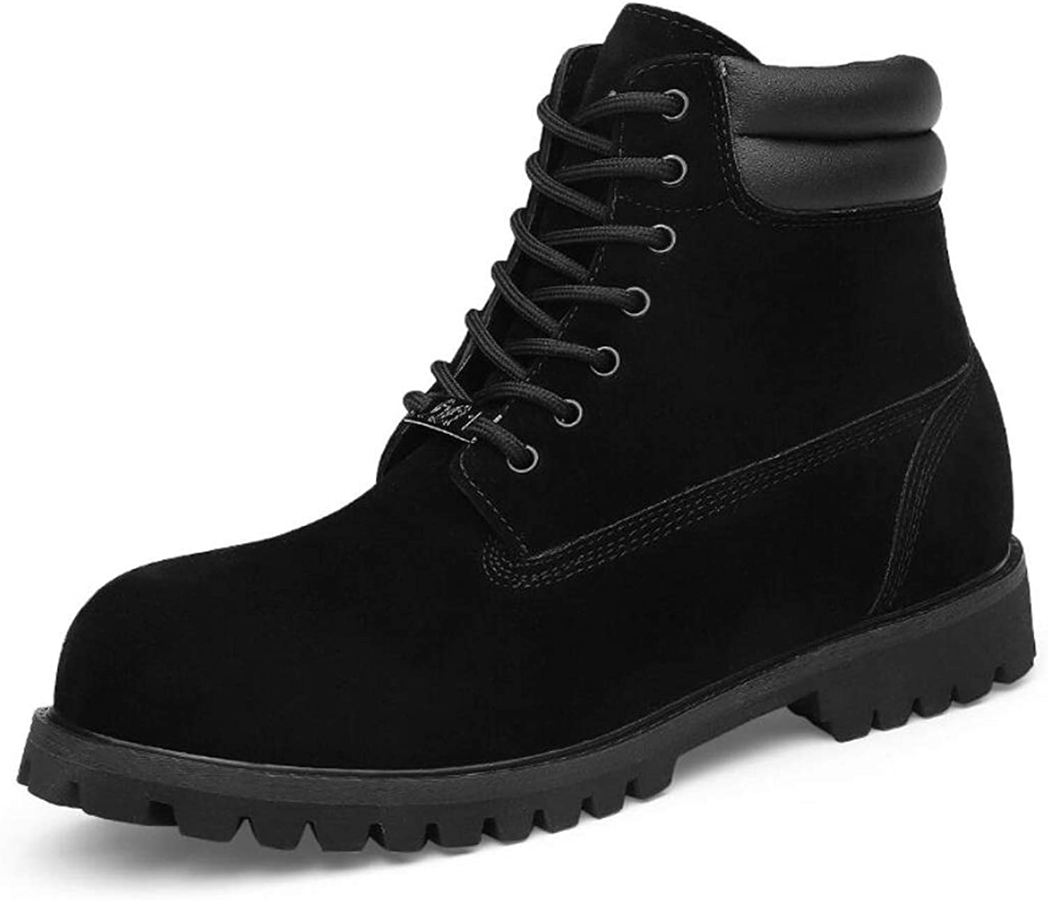 Zxcvb Men's Casual Lace up Round Toe Fashion Ankle Leather Combat High help Martin Boots for Men Suede