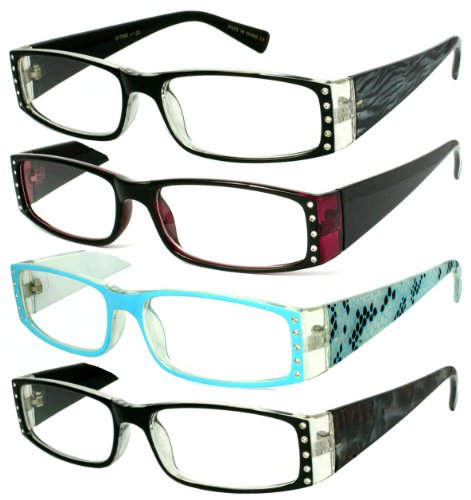 Edge I-Wear Pack 4 Assorted Colors Women's Rectangular Full Frame Plastic Animal Print Reading Glasses with Rhinestones 31756R-AST-2.00