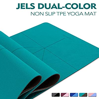 "TENOL JELS Yoga Mat Non Slip Dual-Color Eco Friendly Yoga Mat Thick Exercise & Workout Mat with Free Carry Strap for Yoga Pilates and Fitness?72""x26""x1/4""?"
