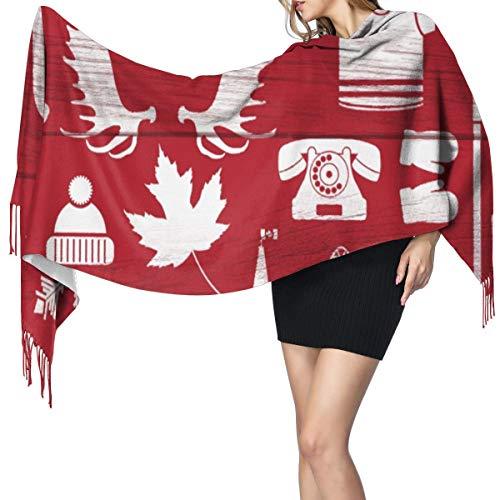 Cachemira de imitación Invierno Bufanda Chal Enorme colección de canadienses estereotipados en tablero de granero,este grupo contiene palos de hockey,astas de hachas Mantón para Mujeres Cálida ⭐