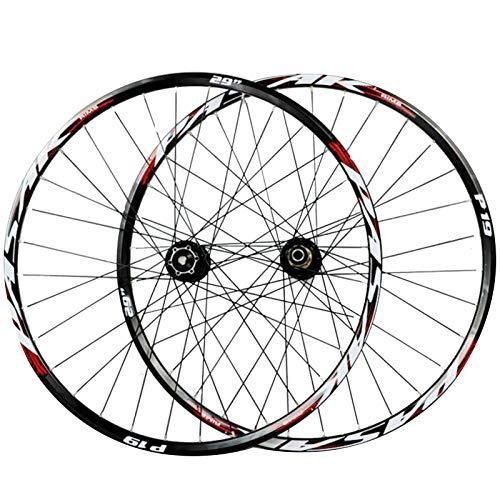 CHICTI 29-Zoll-Vorderrad,Doppelwandige MTB-Felge Aluminiumlegierung Scheibenbremsen Schnelle Veröffentlichung 7-11 Geschwindigkeitsschwungrad Laufrad Hinterrad Draußen (Color : Red, Size : 29in)