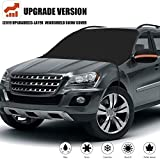 [2019 Newest] Windshield Snow Cover, Extra Large & 3-Layer Thick Fits Any Car Truck SUV Van, Straps & Magnets Double Fixed Design Windproof Outdoor Car Snow Covers, Keeps Ice & Snow Off