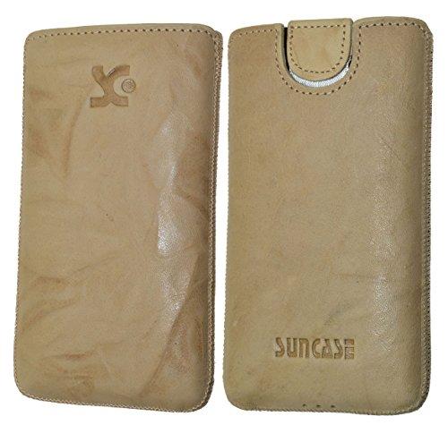 Original Suncase Tasche für / Emporia PURE / Leder Etui Handytasche Ledertasche Schutzhülle Hülle Hülle - Lasche mit Rückzugfunktion* in wash beige