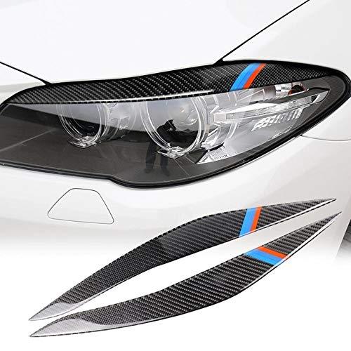 DHFBS 1 paar Auto Koplamp Wenkbrauwen Cover, Voor BMW 5 Serie F10 2010-2013 Trim Decal Decor Koplamp Wenkbrauwen Koolstofvezel Sticker