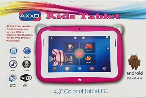 """Axxo Kinder Tablet zum Lernen und Spielen mit 20 Vorinstallierten Apps, Dual-Kamera und 4, 3"""" Touch Display in pink"""