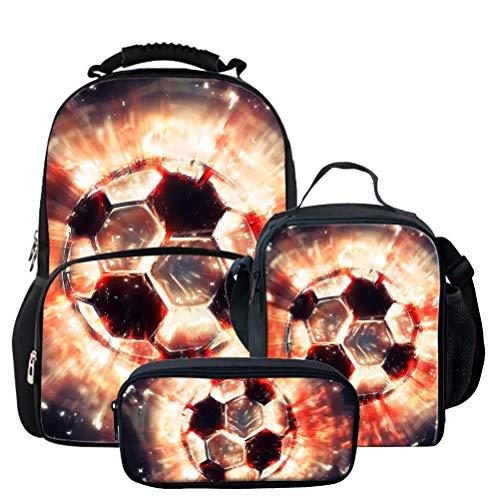 Chaqlin - Mochila escolar para estudiantes elementales, diseño de fútbol, Poliéster, Un conjunto de estilo -1, One_Size