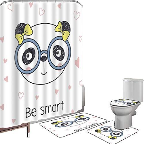 Juego de cortinas baño Accesorios baño alfombras Geek Alfombrilla baño Alfombra contorno Cubierta del inodoro Dibujado a mano Doodle Panda Girl con gafas sobre fondo blanco con formas de corazón,multi