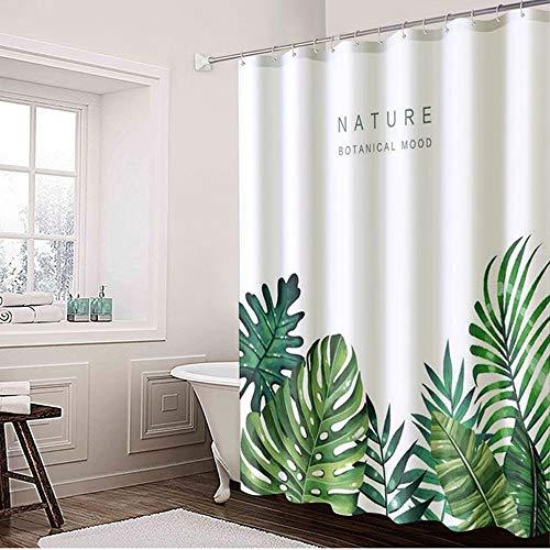 Lfives-hm Duschvorhänge Duschvorhang mit Haken Wasserdicht Mold Proof Resistant Badezimmer-Vorhang Blätter gedruckt Waschbar Badvorhang für Badezimmer Badewanne (Farbe : Weiß, Größe : 100x180cm)