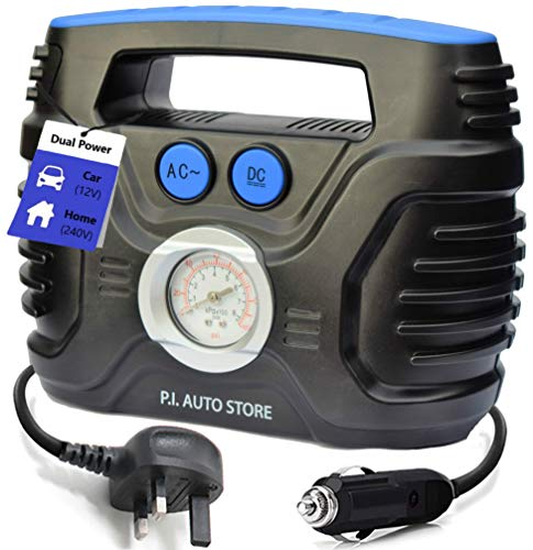P.I. Auto Store - Tyre Pump - 240v Car Tyre Inflator (Mains) OR 12V DC Tyre Compressor (vehicle) Dual Electric Powered - Top Car Accessories for Men