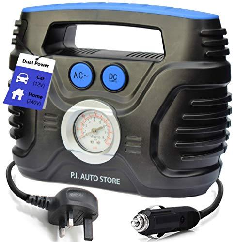 P.I. Auto Store - Tyre Pump - 240v Car Tyre Inflator (Mains) OR 12V DC...