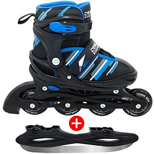 DEHLZER 2 in 1 Inlineskates und Schlittschuhe für Kinder und Damen – Größen Verstellbare Rollschuhe - Erhältlich in 2 Farben mit Schlittschuhtasche