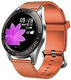 Montre connectée avec moniteur de fréquence cardiaque, podomètre, mode sport, compteur de calories, suivi du sommeil pour homme et femme Sportswear Orange