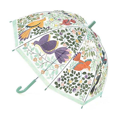 Djeco Kinder Regenschirm Stockschirm Transparent mit Blumen und Vögel