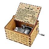 Kenon Boîtes à musique en bois gravées pour fils, vintage personnalisées, boîte à musique à manivelle avec inscription «...