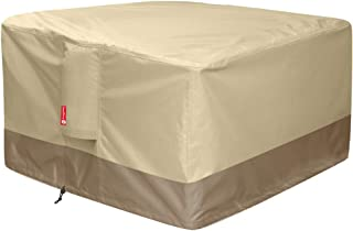 """Gas Fire Pit Cover Square - 600D Heavy Duty Patio Outdoor Fire Pit Table Cover with PVC Coating,100% Waterproof,Air Vents,Fits for 34 / 35 / 36 inch Fire Pit / Table Cover (36""""L x 36""""W x 24""""H,Beige)"""